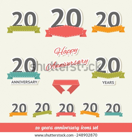 20 years anniversary icons collection - stock vector