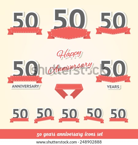 50 years anniversary icons collection - stock vector