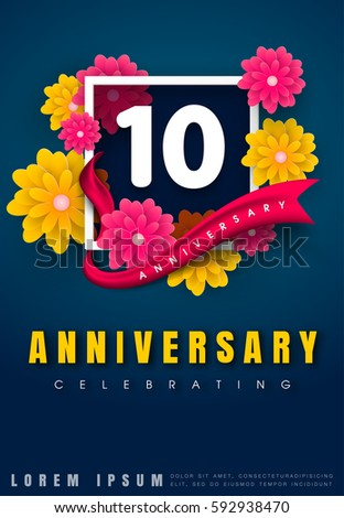 10 years anniversary invitation card celebration stock vector 10 years anniversary invitation card celebration template design 10th anniversary with flowers and modern stopboris Image collections