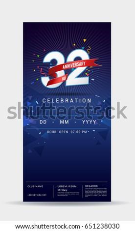 32 years anniversary invitation card celebration stock vector 32 years anniversary invitation card celebration template design with dark blue background vector illustration stopboris Gallery