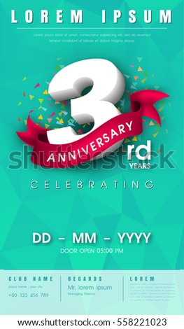 3 years anniversary invitation card emblem stock vector 558221023 3 years anniversary invitation card or emblem celebration template design 3rd anniversary modern design stopboris