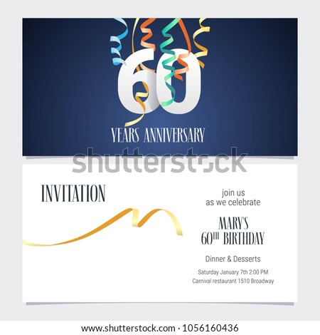 60 years anniversary invitation celebrate event stock vector hd 60 years anniversary invitation to celebrate the event vector illustration design template element with number stopboris Image collections
