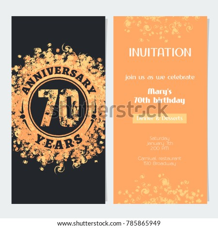 70 years anniversary invitation celebration event stock vector 70 years anniversary invitation to celebration event vector illustration design element with gold color number stopboris Gallery