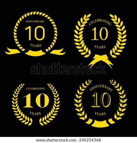 10 years anniversary laurel gold  wreath, set - stock vector