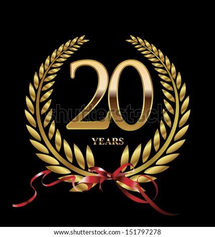 Golden Wreath Badge 20 Years Anniversary Stock Vector 567112288