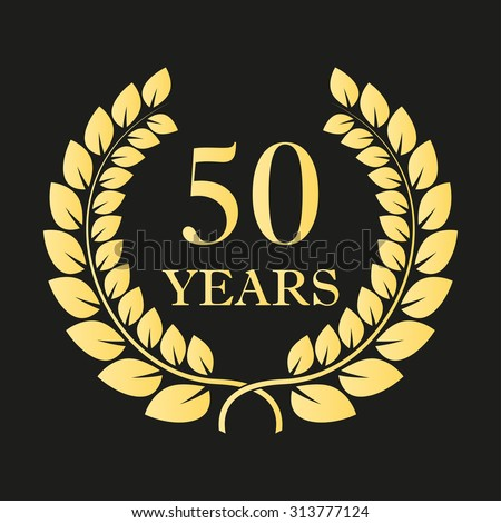 50 years anniversary laurel wreath icon or sign. Template for celebration and congratulation design. 50th anniversary golden label. Vector illustration. - stock vector