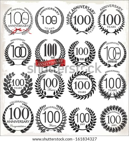 100 years anniversary laurel wreath, set