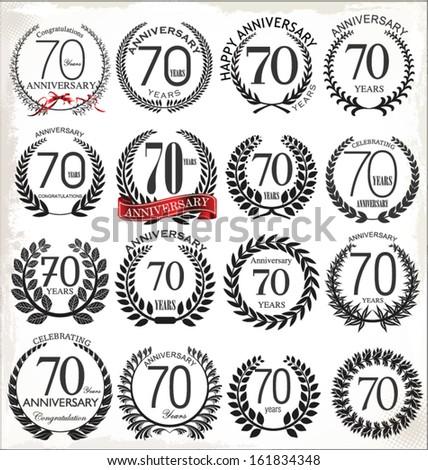 70 years anniversary laurel wreath, set - stock vector