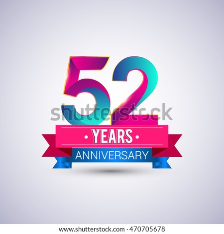 52 years anniversary logo, blue and red colored vector design