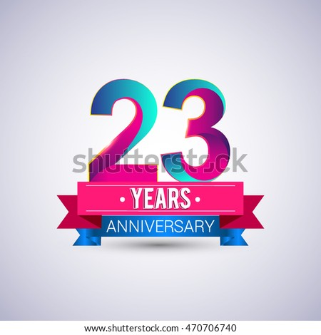 23 years anniversary logo, blue and red colored vector design