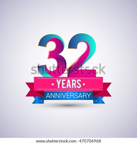 32 years anniversary logo, blue and red colored vector design