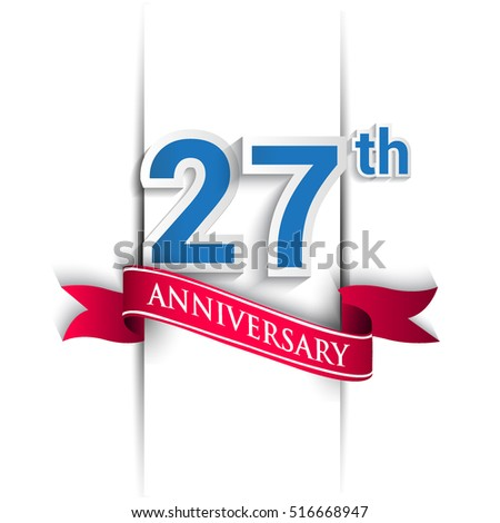 27 years anniversary logo, blue and red colored vector design on white background. template for Poster or brochure and invitation card.