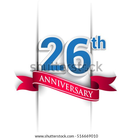 26 years anniversary logo, blue and red colored vector design on white background. template for Poster or brochure and invitation card.