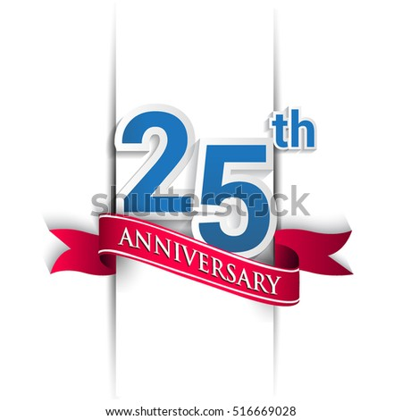 25 years anniversary logo, blue and red colored vector design on white background. template for Poster or brochure and invitation card.