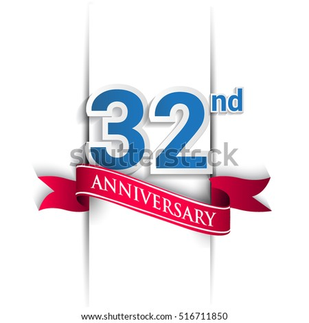 32 years anniversary logo, blue and red colored vector design on white background. template for Poster or brochure and invitation card.