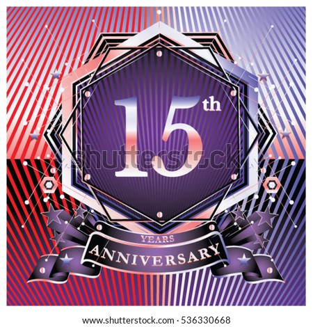 15 years anniversary logo celebration with ring and ribbon symbol and