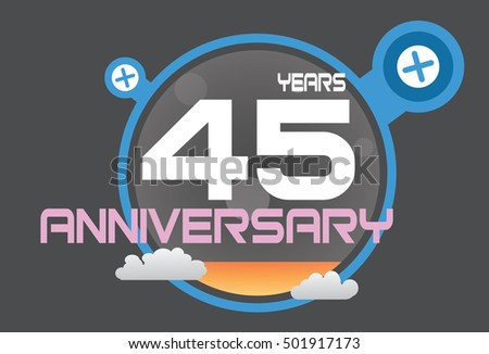 45 years anniversary logo with blue circle, orange liquid and clouds. anniversary logo for birthday, wedding, celebration and party