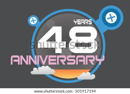 48 years anniversary logo with blue circle, orange liquid and clouds. anniversary logo for birthday, wedding, celebration and party