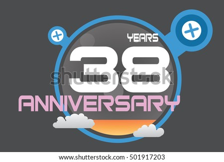 38 years anniversary logo with blue circle, orange liquid and clouds. anniversary logo for birthday, wedding, celebration and party
