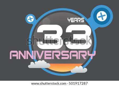 33 years anniversary logo with blue circle, orange liquid and clouds. anniversary logo for birthday, wedding, celebration and party