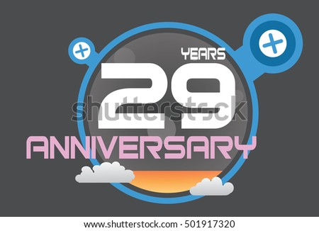 29 years anniversary logo with blue circle, orange liquid and clouds. anniversary logo for birthday, wedding, celebration and party