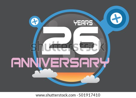 26 years anniversary logo with blue circle, orange liquid and clouds. anniversary logo for birthday, wedding, celebration and party