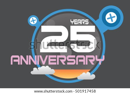 25 years anniversary logo with blue circle, orange liquid and clouds. anniversary logo for birthday, wedding, celebration and party