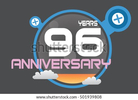 96 years anniversary logo with blue circle, orange liquid and clouds. anniversary logo for birthday, wedding, celebration and party