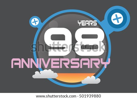 98 years anniversary logo with blue circle, orange liquid and clouds. anniversary logo for birthday, wedding, celebration and party