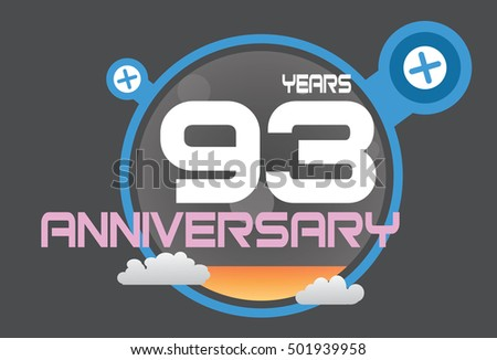 93 years anniversary logo with blue circle, orange liquid and clouds. anniversary logo for birthday, wedding, celebration and party
