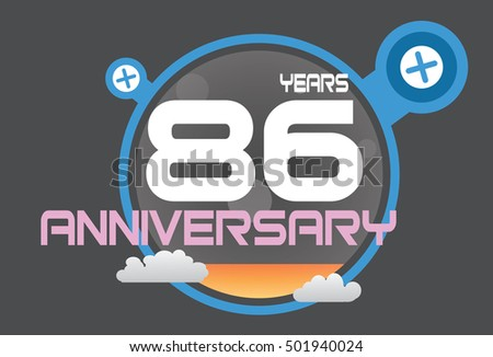 86 years anniversary logo with blue circle, orange liquid and clouds. anniversary logo for birthday, wedding, celebration and party