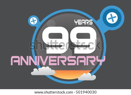 99 years anniversary logo with blue circle, orange liquid and clouds. anniversary logo for birthday, wedding, celebration and party