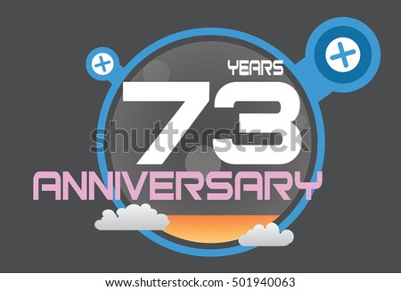 73 years anniversary logo with blue circle, orange liquid and clouds. anniversary logo for birthday, wedding, celebration and party
