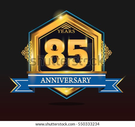 85 years anniversary shiny golden logo blue ribbon with tiny ornament for birthday, celebration, dan party