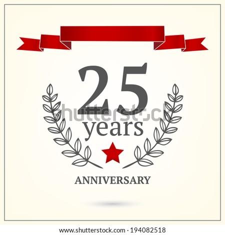 25 years anniversary sign - stock vector