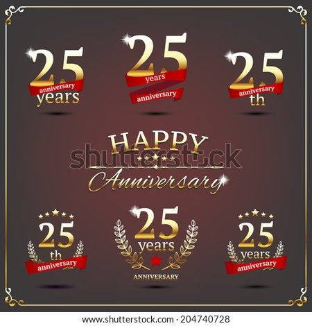 25 years anniversary signs collection - stock vector