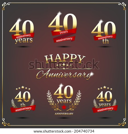 40 years anniversary signs collection - stock vector