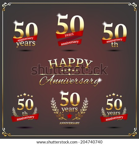 50 years anniversary signs collection - stock vector
