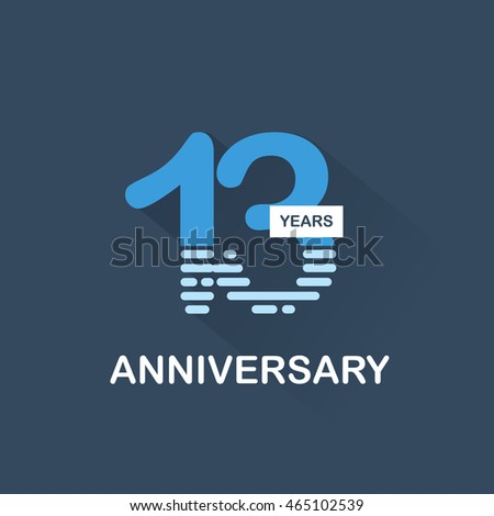 13 Years Anniversary Signs Symbols Blue Stock Vector 465102539