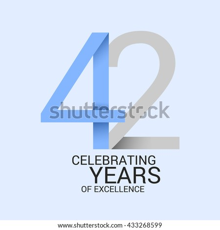 42 Years Anniversary Signs Symbols Simple Stock Vector 433268599