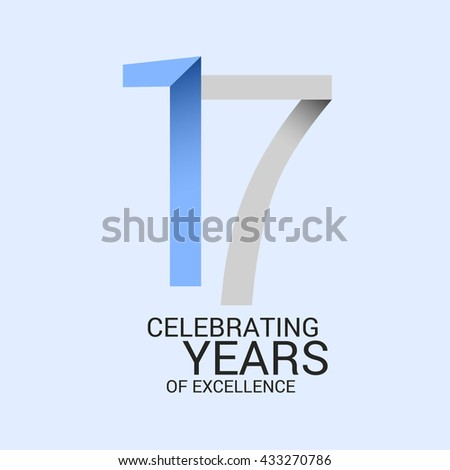 17 Years Anniversary Signs Symbols Simple Stock Vector 433270786