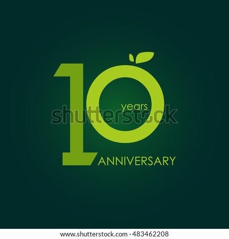10 years anniversary, signs, symbols, which is green with flat design style