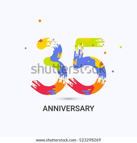 35 Years Anniversary Splash Colored Logo Stock Vector 2018