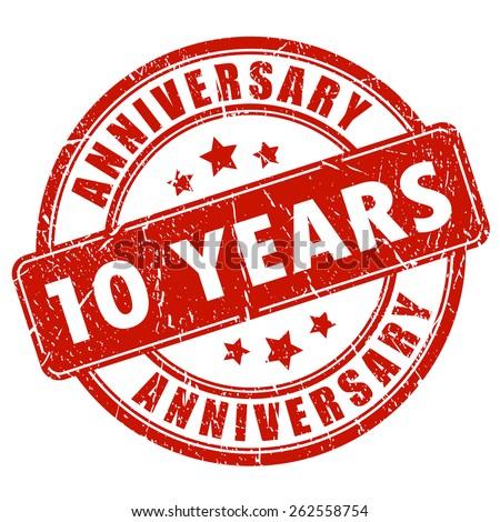 10 years anniversary stamp - stock vector