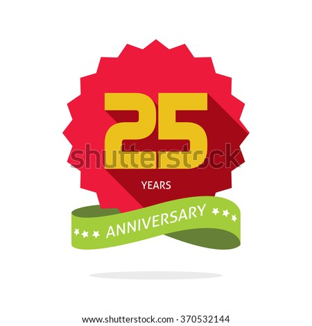 25 years anniversary vector label logo, shadow on circle, number 25 (two five), 25th years anniversary icon. Twenty fifth birthday party symbol, promotion sale sticker ribbon, poster, emblem - stock vector