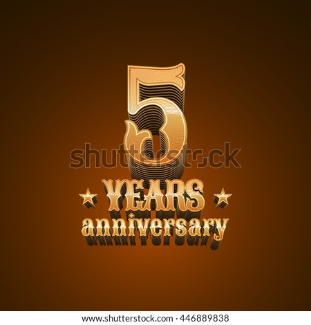 5 years anniversary vector logo. 5th birthday decoration design element, sign, emblem, symbol in gold