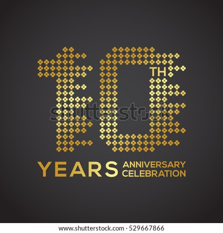 10 Years Anniversary Flower Gold Color Stock Vector