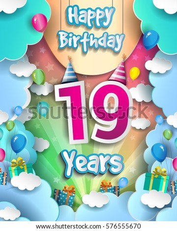 19th years anniversary logo vector design stock vector 716988001 19 years birthday celebration design for greeting cards and poster with clouds and gift box negle Image collections