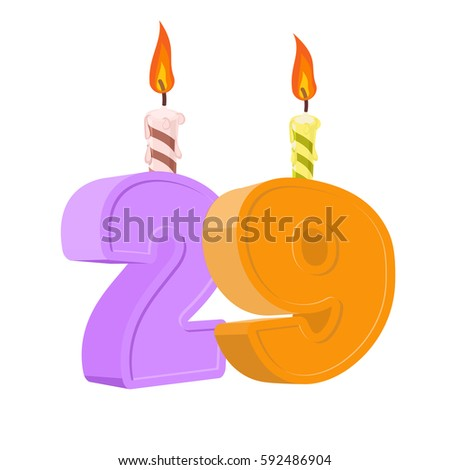 number with festive candle for holiday cake twenty nine anniversary