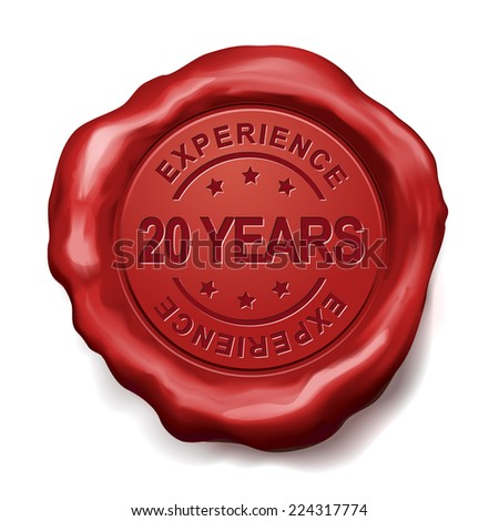 20 years experience red wax seal over white background - stock vector